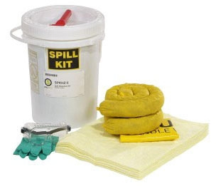 """SPT SPKHZ5 12"""" x 16.75"""", 5 Gallon, Polyethylene, HazMat, Spill Kit"""