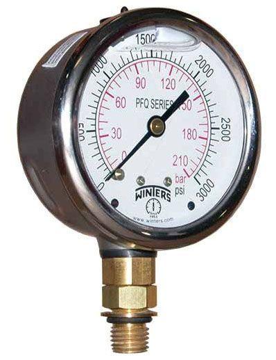 "1/4"" NPT, 0 to 160 PSI, 4"" Aluminum Dial, Lead-Free, Stainless Steel, Lower Mount, Glycerin Filler, Pressure Gauge"