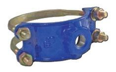 "8"", 3/4"" CC Outlet, 7.69 to 9.05"" OD Pipe, 300 PSI, Lead-Free, Ductile Iron, Double Bale, Service Saddle"