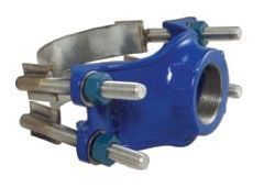 """8 to 10"""", 2"""" NPT Outlet, 8.54 to 10.1"""" OD Pipe, 150 PSI, Lead-Free, Ductile Iron, Double Strap, Service Saddle"""