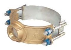 """6"""", 2"""" NPT Outlet, 6.9"""" OD Pipe, 150 PSI, Lead-Free, Brass, Extra Wide Strap, Service Saddle"""