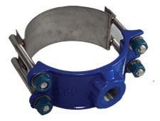 "8"", 3/4"" CC Outlet, 9.05"" OD Pipe, 200 PSI, Lead-Free, Ductile Iron, Wide Strap, Service Saddle"