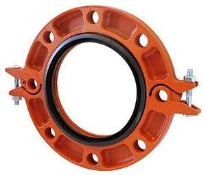 """4"""", Grooved, 11-1/2"""" OD, 300 PSI, Schedule 40, Orange Painted Ductile Iron, Anti-Rotation Tines, Hinged Flange Adapter"""