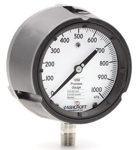 """0 to 60 PSI, 4-1/2"""" Dial, 1/4"""" MPT Lower, Polybutylene Terephthalate, Pressure Gauge"""