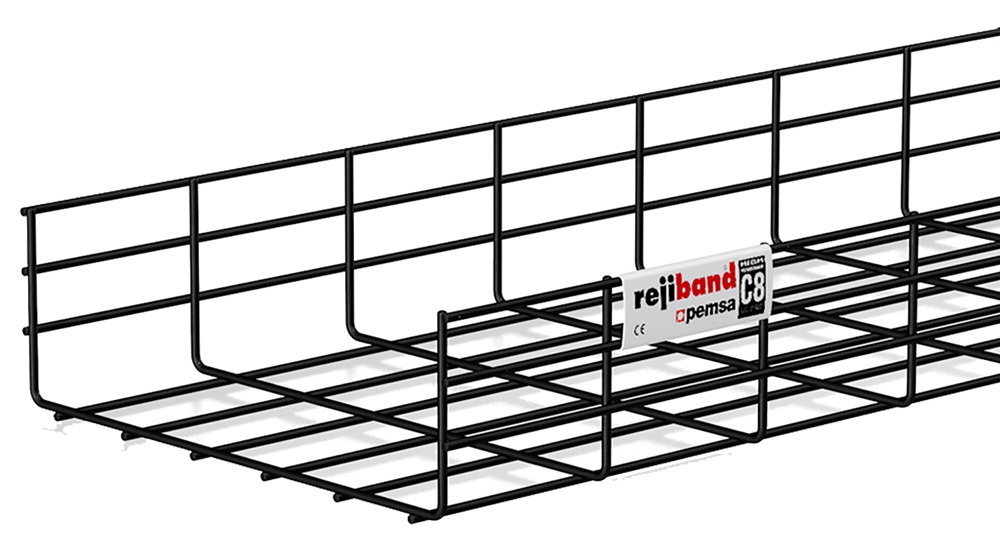 Pemsa 12in X 4in Cable Tray, Black, 10ft
