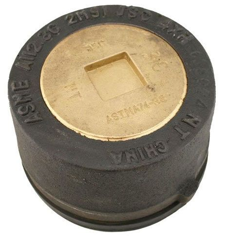 """4"""" x 4-1/4"""" x 3-1/4"""", Schedule 40, Cast Iron Body, Brass Plug, Round Top, Heavy Duty Load, Floor, Push-On Cleanout"""