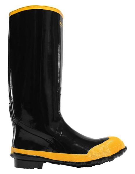 "Size 9, 16"" H, Black, Steel Shank, Natural Rubber Waterproof Lining, Economy Knee Boot"