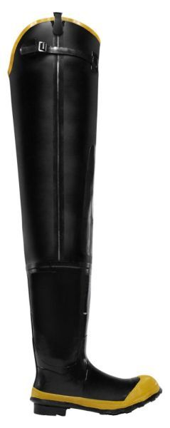 "Size 11, 32"" H, Black, Steel Shank, Natural Rubber Waterproof Lining, Economy Hip Boot"