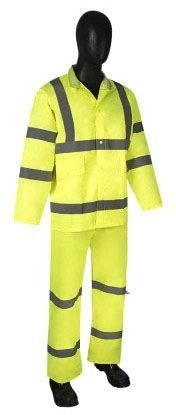 Size M, Lime Green, Polyester Fabric with PU Coating, 3-Piece, Rainsuit