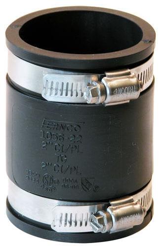 "Fernco 2"" x 2"" PVC Coupling, Flexible, Standard, Cast Iron/Plastic/Copper/Steel/Lead to Cast Iron/Plastic/Copper/Steel/Lead, 4.3 PSI Test"
