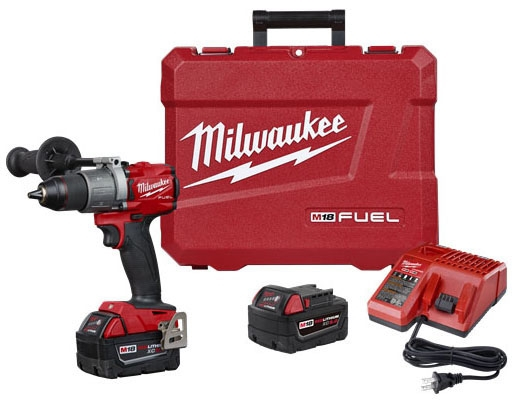 "Milwaukee Tool M12 FUEL™ Hammer Drill Kit, 6.9"" L, 1/2"" Drill/Driver, 18 V, 0 to 2000 RPM, 32000 BPM, 1200 Lb-Inch Torque, Metal Ratcheting Chuck"