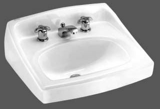 """American Standard Lucerne Wall Mounted Lav Sink, 4"""" Center - White"""