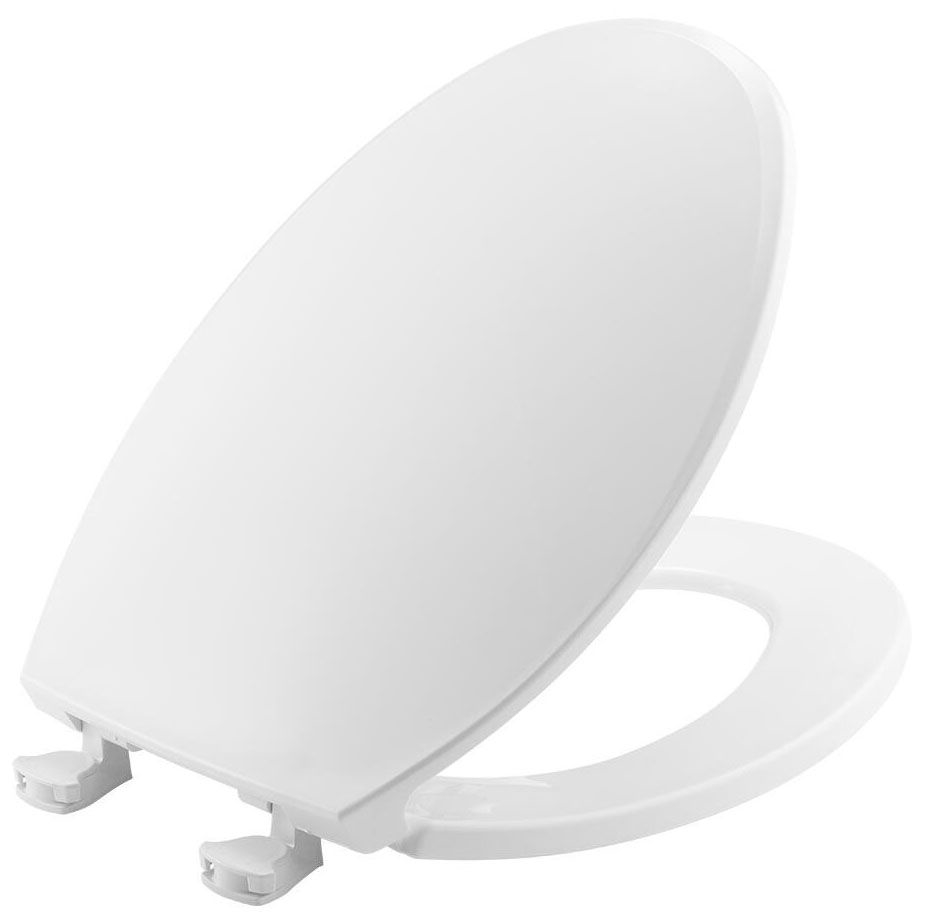 Bemis Elongated Plastic Toilet Seat, Easy Clean Hinge - White
