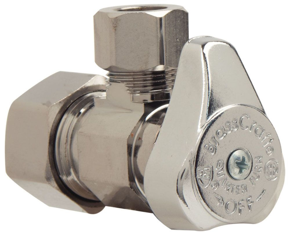 "BrassCraft 1/2"" x 3/8"" OD Angled Stop 1/4 Turn - Chrome Plated, Lead Free"