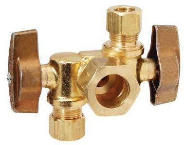 "BrassCraft 1/2"" x 3/8"" x 3/8"" Dual Angled Stop, 1/4 Turn - Rough Brass"