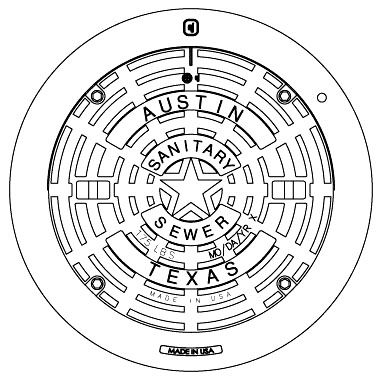 """40-3/4"""" x 4-1/2"""" Frame, 32"""" x 2-7/8"""" Cover, Grey Cast Iron/Ductile Iron, Logo SANITARY SEWER, Heavy Duty, Manhole Frame and Cover"""