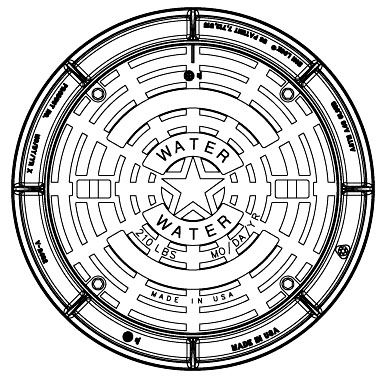 """40-1/4"""" Diameter Frame, 32"""" x 2-7/8"""" Cover, Grey Cast Iron, Logo WATER, Heavy Duty, Manhole Frame and Cover"""
