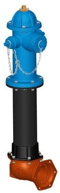 "6"", Tyton Inlet, 5' Bury Depth, 250 PSI, Lead-Free, Safety Blue, Ductile Iron, C-Dome Bonnet, 3-Way Nozzle, Fire Hydrant"