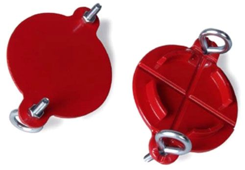 """2-1/2"""", Red, Metal, Pin Lug, FDC Breaker Cap with 4-Eyelet/4-Finished Hex Nut"""