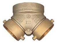 "4"" x 2-1/2"" x 2-1/2"", FHT Swivel x FPT, Cast Brass, 2-Way, Straight, Fire Equipment Inlet Connection Body"