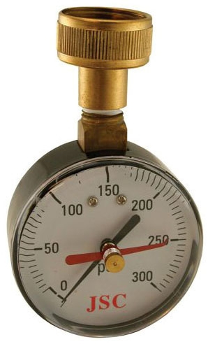 "Jones Stephens Water Test Gauge with Indicator Arm, 3/4"" Female Hose, 300 PSI, 2-1/2"" Diameter Dial, Steel, Duplex"
