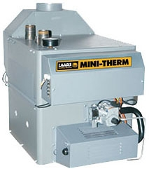 "LAARS Mini-Therm® Hydronic Gas Boiler, 1-1/4"" NPT Supply, 1-1/4"" NPT Return, 1/2"" Gas, 100 MBH, 85% AFUE, Cast Iron, Natural"