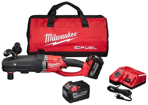"""Milwaukee Tool M18 FUEL™ SUPER HAWG™ Drill Kit, 18 V, 9 AH, 7/16"""" Quick-Lok Chuck, 0 to 350 RPM/0 to 950 RPM, Cordless, Right Angle"""
