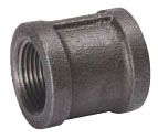 "1"" x 1"" Black Malleable Iron Coupling, FPT x FPT, 150 PSI"