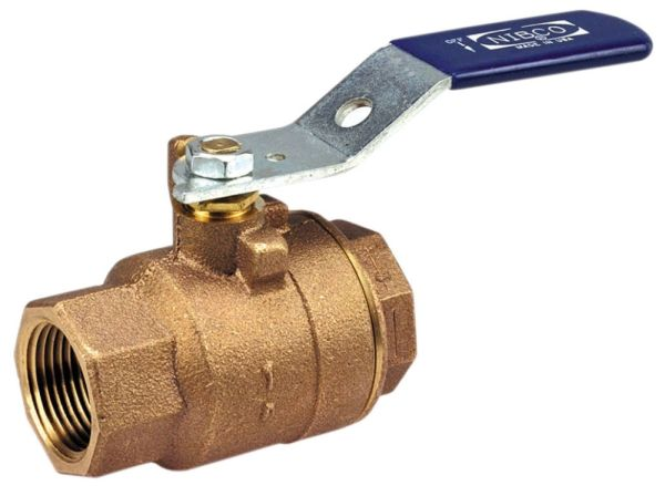 """2"""", FPT x FPT, 600 PSI CWP Non-Shock, Zinc Plated Steel Standard 1/4 Turn Lever Handle, Cast Red Bronze Body, 2-Piece, Full Port, Ball Valve"""