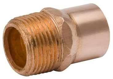 """1-1/4"""" x 1-1/4"""", C x MPT, 700 PSI, Lead-Free, Wrot UNS C12200 Copper Alloy, Male, Straight, Adapter"""