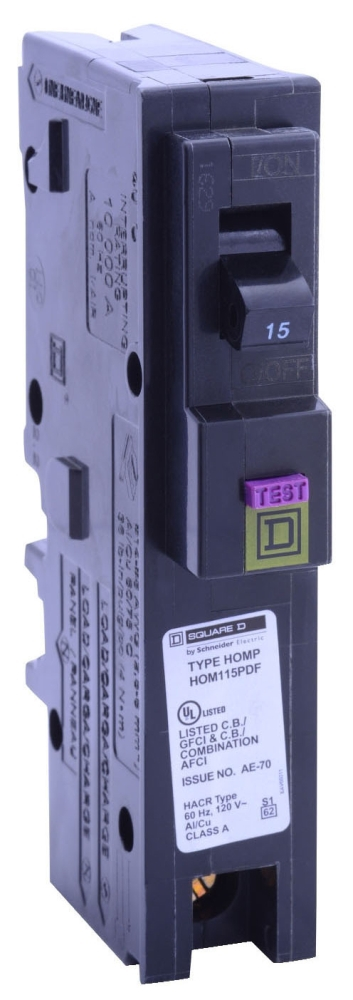 "Schneider Electric Homeline™ Miniature Circuit Breaker, 120 VAC, 15 A, 10 kA, 104 Deg F, 14 to 8 AWG Aluminum/Copper, 14 to 10 AWG Copper, 1"" x 2.98"" x 3.13"", 1-Pole, Plug-In Mount"