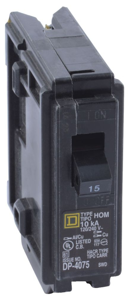 "Schneider Electric Homeline™ Miniature Circuit Breaker, 120/240 VAC, 20 A, 104 Deg F, 14 to 8 AWG Aluminum/Copper, 14 to 10 AWG Copper, 1"" x 2.98"" x 3.13"", 1-Pole, Plug-In Mount"