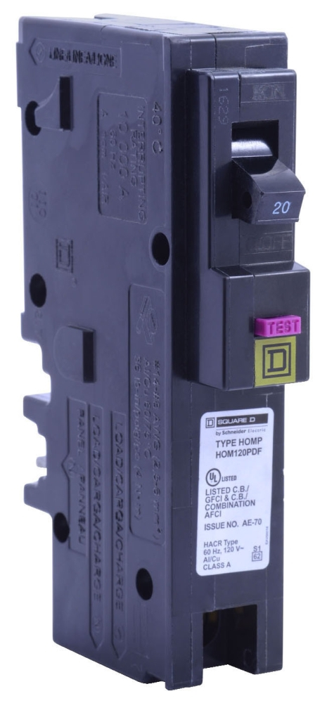 "Schneider Electric Homeline™ Miniature Circuit Breaker, 120 VAC, 20 A, 10 kA, 104 Deg F, 14 to 8 AWG Aluminum/Copper, 14 to 10 AWG Copper, 1"" x 2.98"" x 3.13"", 1-Pole, Plug-In Mount"