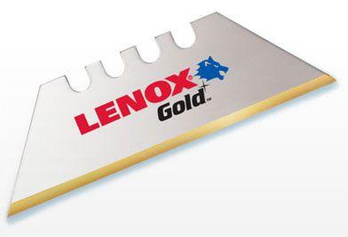 Lenox Tools Gold® Utility Knife Blade (5 per Pack), Bi-Metal, Titanium Coated High SpeedSteel Edge, Round Point