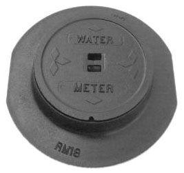 "11.5"" Diameter, Grey Iron, Logo WATER METER, Non-Locking, Drop-In, Non-Recessed, Meter Box Ring and Cover"