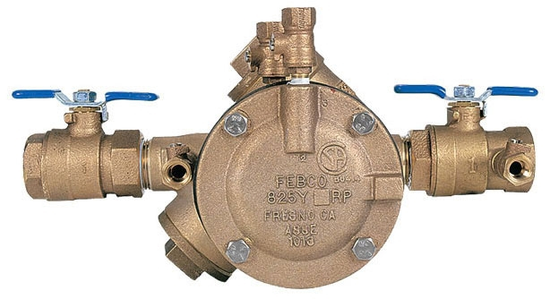 """Febco Backflow Preventer, 1"""", FPT x FPT, 175 PSI Working/350 PSI Hydrostatic Test, Lead-Free, Cast Copper Silicon Alloy, Reduced Pressure Zone Assembly, 1/4 Turn"""