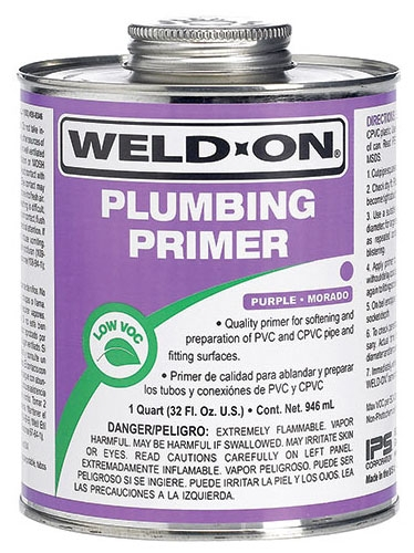 Weld-On Plumbing Primer, 1/2 Pint, Can with Applicator Cap, -4 Deg F Flash Point, Purple