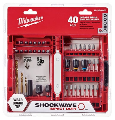 Milwaukee Tool SHOCKWAVE™ Impact Drill and Drive Set, 40-Piece, Heat Treated Steel, Phillips, Slotted, Torx, Square, Hex