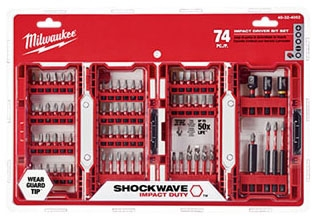 Milwaukee Tool SHOCKWAVE™ Driver Bit Set, 74-Piece, Alloy Steel, Assorted, Impact Duty