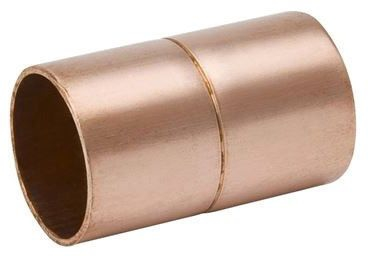 """1"""" x 1"""" Copper Coupling, C x C, Lead-Free, Wrot, UNS C12200, Rolled Stop"""
