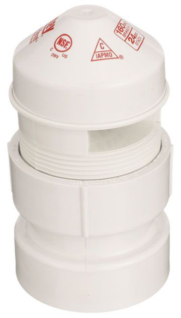 """Oatey Sure-Vent® Air Admittance Valve, 1-1/2 to 2"""", NPT, PVC, 1-Way"""