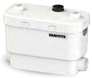 """Saniflo Drain Pump, 2"""" Inlet, 1"""" or 1-1/2"""" Discharge, 0.4 HP, 120 VAC 60 Hz, 4.5 A, 29 GPM, 30' Shut-Off Head, Oil Filled Thermally Protected Motor"""