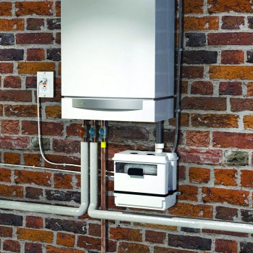"Saniflo Condensate Pump, 3/8"" Discharge, 120 VAC 60 Hz, 1.5 A, 86 GPH, Flat Surface/Wall Mount"