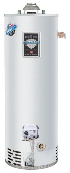 Bradford White RG140T6N 40 Gal Defender Safety System Atmospheric Vent Energy Saver Natural Gas Tall Water Heater, 34K BTU