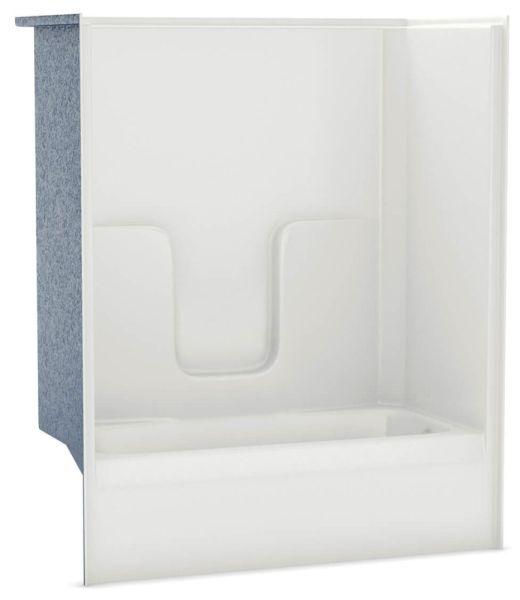 "60"" x 31-1/2"" x 73-3/4"" 36 Gallon White 1-Piece Alcove Tub and Shower Module - AcrylX, Right Drain, AFR"