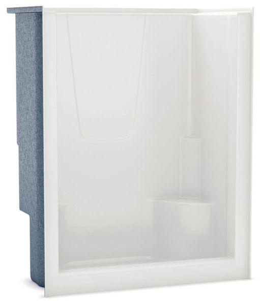 "60"" x 35-1/2"" x 76"" White 1-Piece Alcove Shower Module - AcrylX, 3-3/8"" Center Drain"