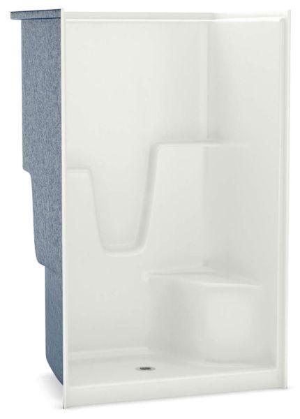 "48-1/4"" x 36"" x 78"" White 1-Piece Alcove Shower Module - AcrylX, 3-3/8"" Center Drain, AFR"