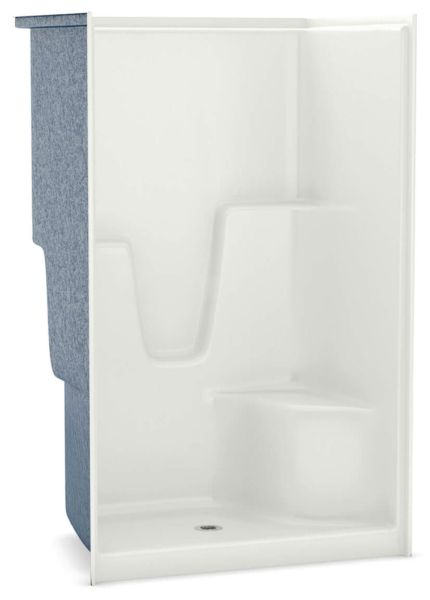 "48-1/4"" x 36"" x 78"" White 1-Piece Alcove Shower Module - AcrylX, 3-3/8"" Center Drain, AFR"