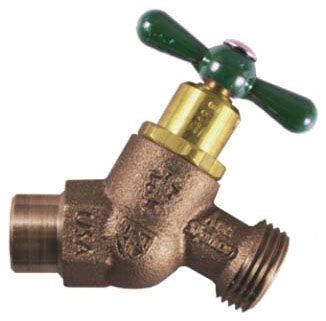 "1/2 or 3/4"" Sweat x Sweat Brass T-Handle No-Kink Hose Bibb - Arrow-Breaker, Sweat, 125 psi, 11 to 12 GPM"