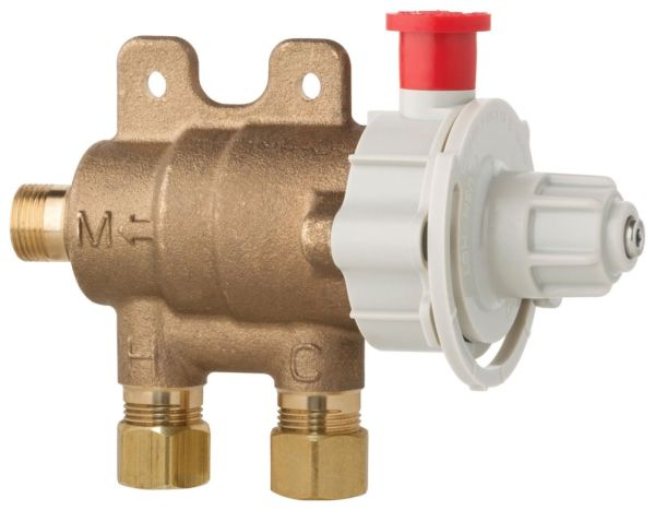 "3/8"" Brass Thermostatic Mixing Valve - ECAST, Compression, 6.6 GPM, 125 psi"